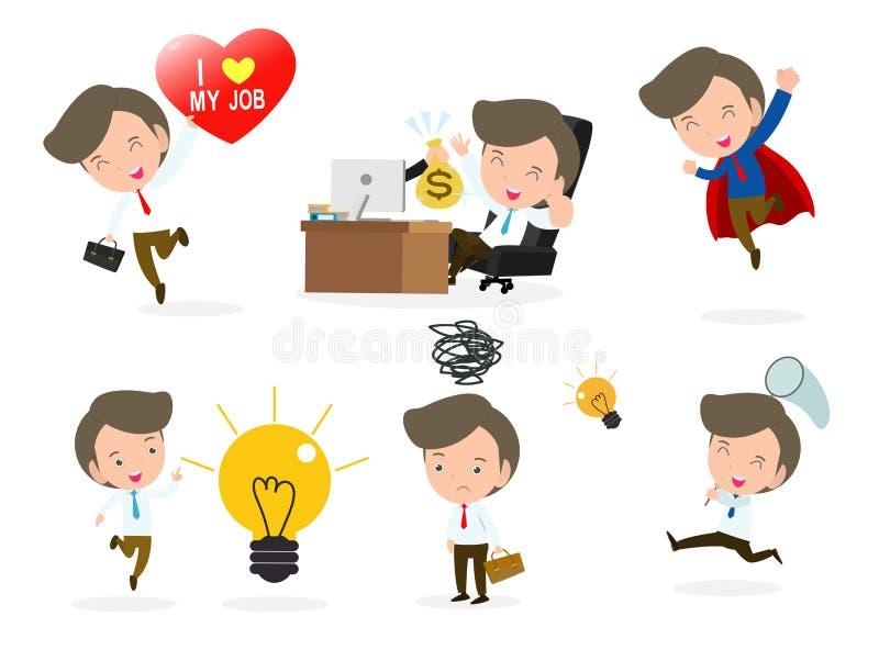 Sistema de hombres de negocios diversos aislados en el fondo blanco Estilo plano lindo y simple de la historieta Ilustraci?n del  ilustración del vector
