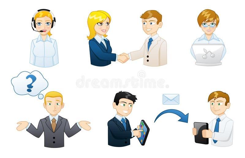 Sistema de hombres de negocios en los avatares del trabajo ilustración del vector