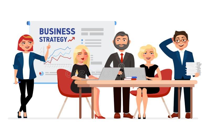 Sistema de hombres de negocios de los personajes de dibujos animados Colegas en la reunión, mujer de negocios que señala en el ta ilustración del vector