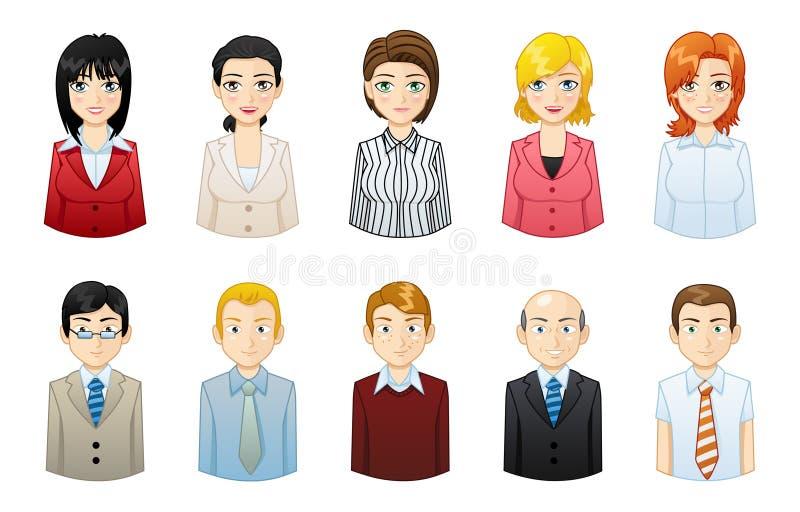 Sistema de hombres de negocios y de avatares de las empresarias ilustración del vector