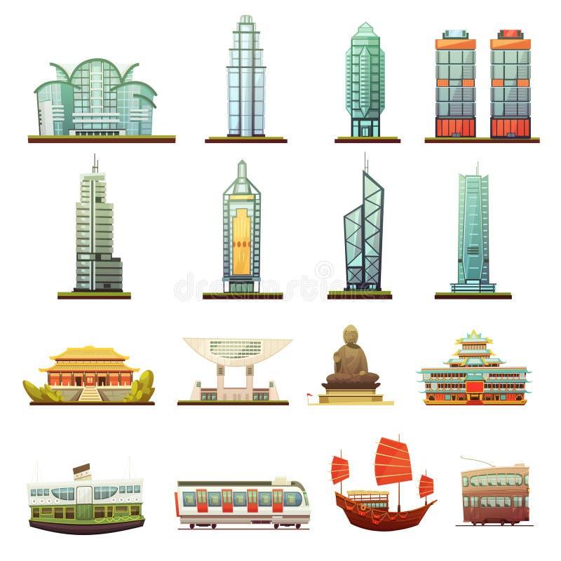 Sistema de Hong Kong Landmarks Transportation Icons ilustración del vector