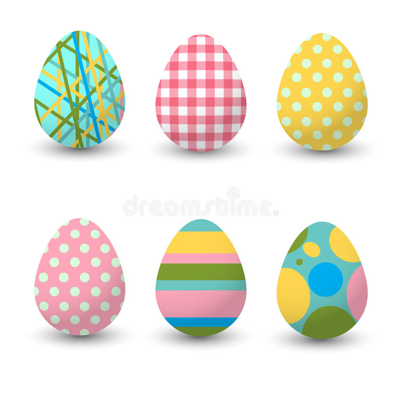Sistema de huevos realistas en el fondo blanco Colección de Pascua Ilustración del vector libre illustration