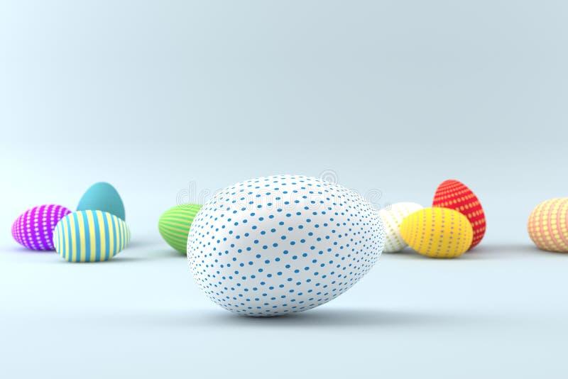 Sistema de huevos realistas en el fondo blanco Colección de Pascua stock de ilustración