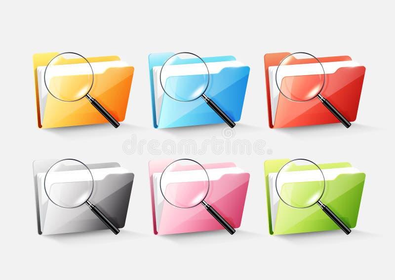 Sistema de icono colorido del directorio de la carpeta de archivos del documento y de vidrio magnificado en el vector gris, trans libre illustration