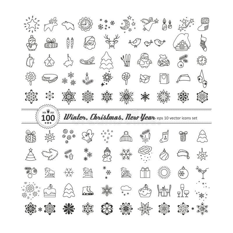 Sistema de iconos - Año Nuevo, la Navidad, invierno stock de ilustración