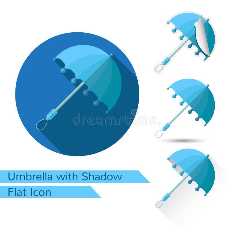 Sistema de iconos abiertos del paraguas en estilo plano con diversa sombra stock de ilustración