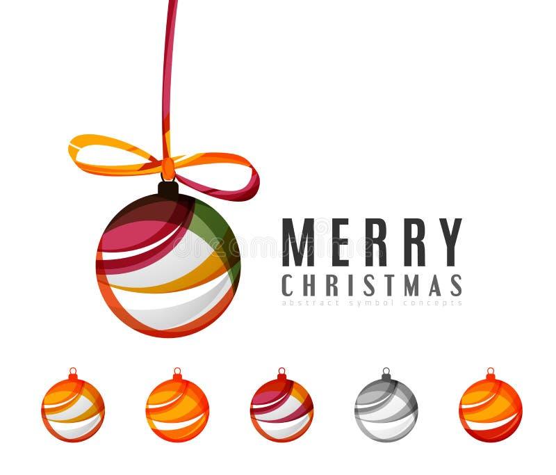 Sistema de iconos abstractos de la bola de la Navidad, negocio stock de ilustración
