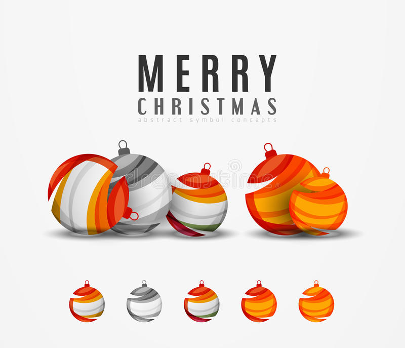 Sistema de iconos abstractos de la bola de la Navidad, negocio libre illustration