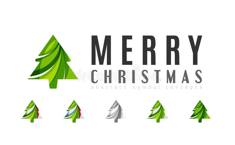 Sistema de iconos abstractos del árbol de navidad, negocio stock de ilustración