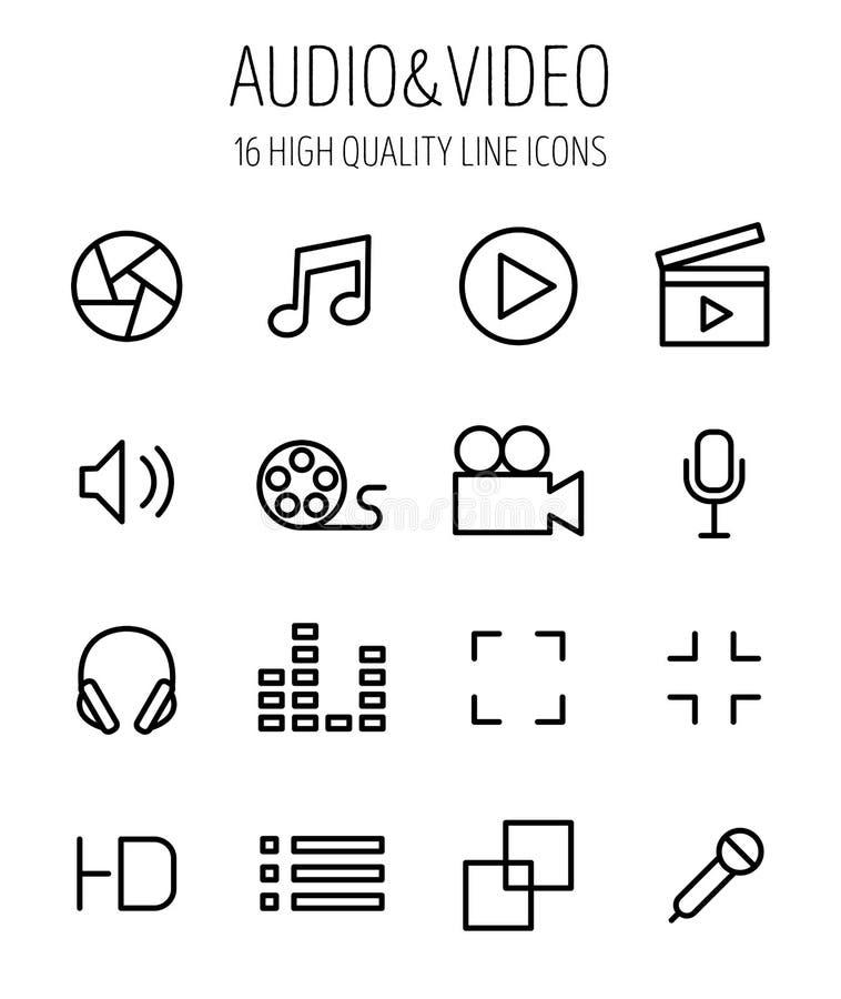 Sistema de iconos audios y video en la línea estilo fina moderna libre illustration