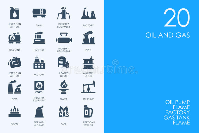 Sistema de iconos AZULES del petróleo y gas de la biblioteca del HÁMSTER libre illustration