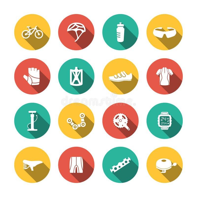 Sistema de iconos Biking ilustración del vector