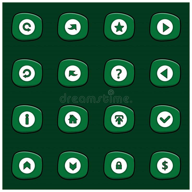 Sistema de 16 iconos blancos de la mezcla en rectángulo verde redondeado en Gre oscuro libre illustration