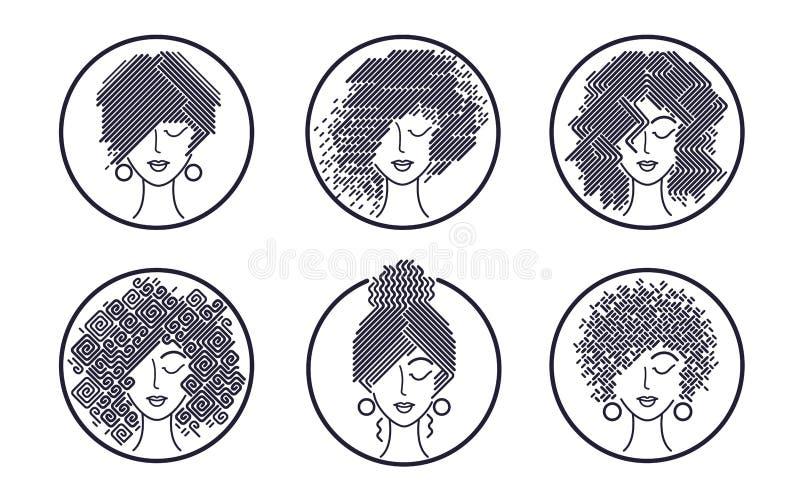 Sistema de iconos blancos y negros de los peinados del ` s de las mujeres ilustración del vector