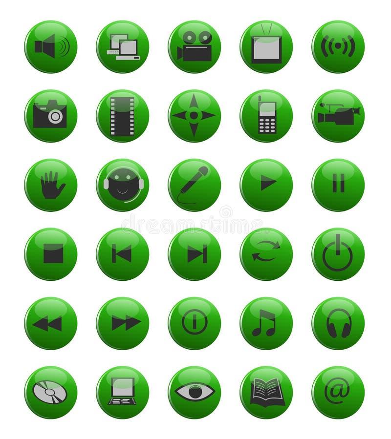 Iconos verdes de la tela y de las multimedias ilustración del vector