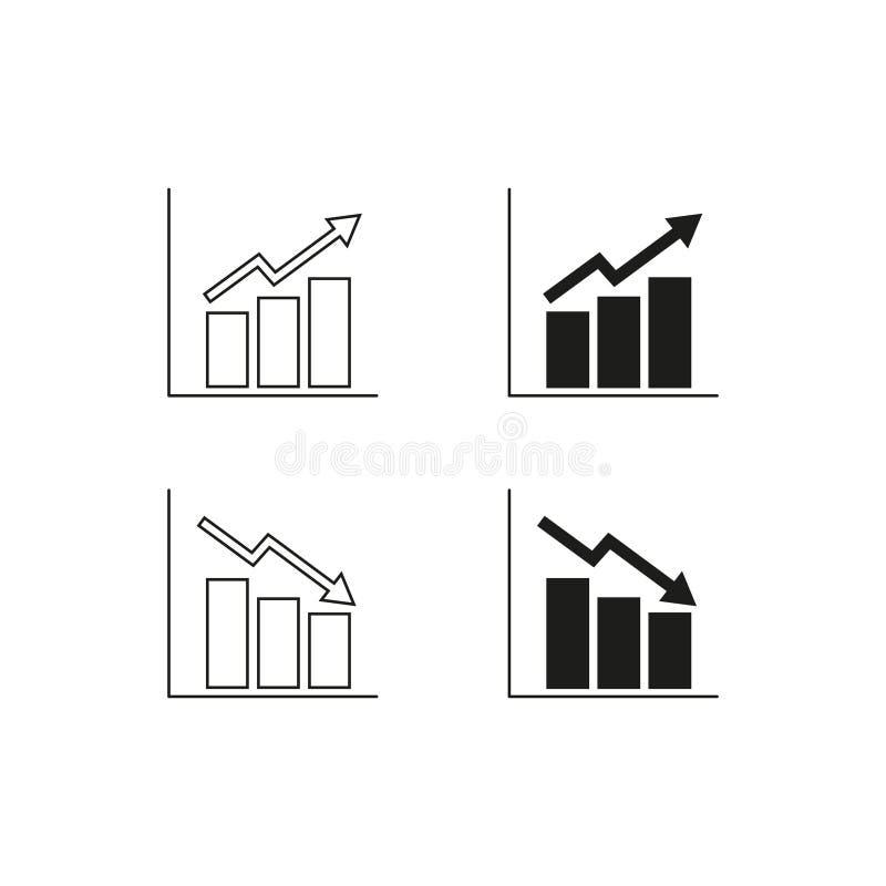 Sistema de iconos cada vez mayor de los horario que caen ilustración del vector