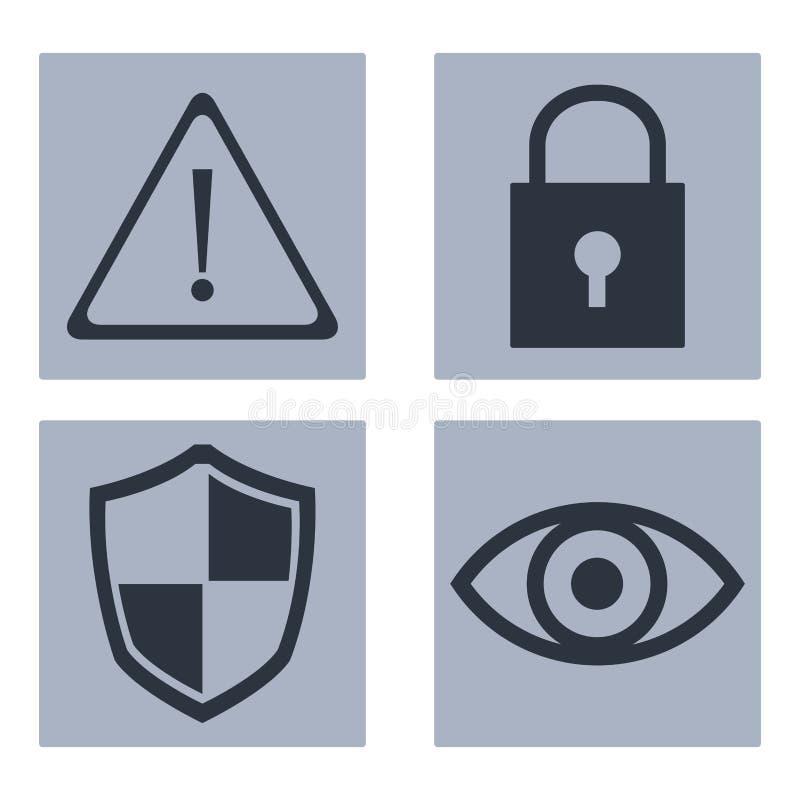 Sistema de iconos cibernéticos de la seguridad libre illustration