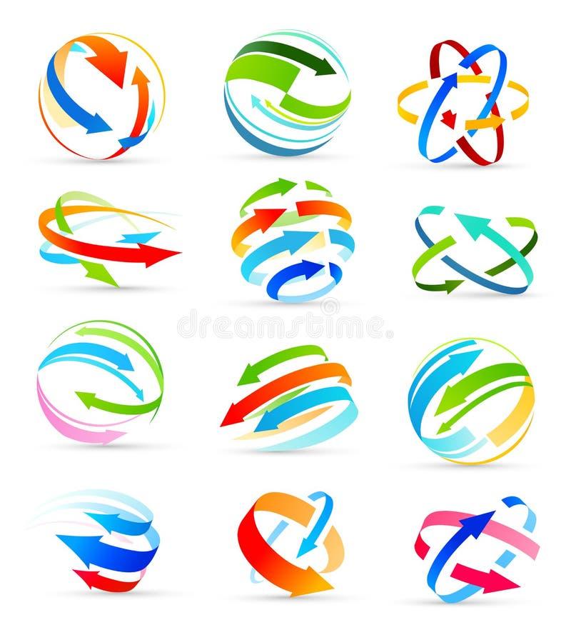 Sistema de iconos coloreados de las flechas Vector ilustración del vector