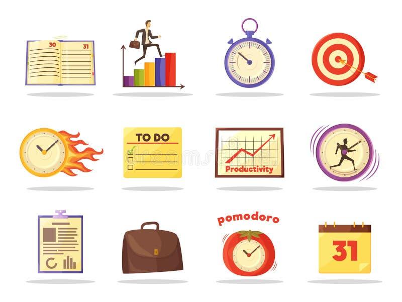 Sistema de iconos coloreados de la gestión de tiempo de la productividad libre illustration