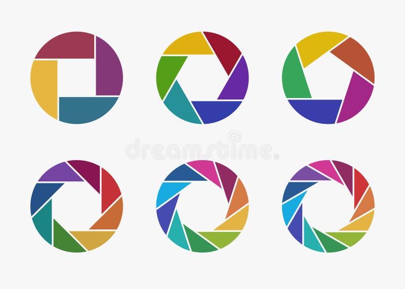 Sistema de iconos coloridos de la abertura de lente de cámara ilustración del vector