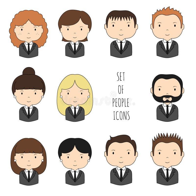 Sistema de iconos coloridos de la gente de la oficina Hombre de negocios stock de ilustración