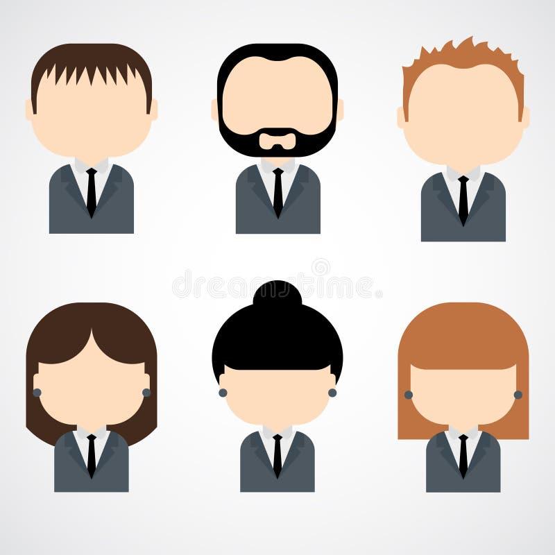 Sistema de iconos coloridos de la gente de la oficina. Hombre de negocios. Empresaria. libre illustration