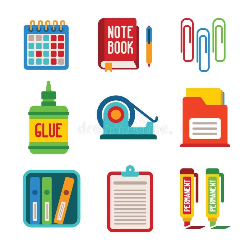 Sistema de iconos coloridos de la oficina del vector en estilo plano stock de ilustración