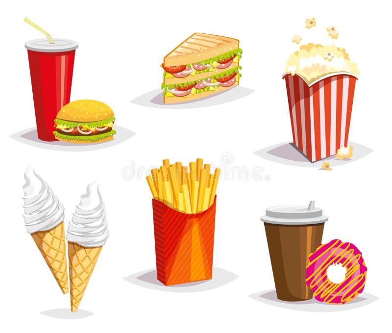 Sistema de iconos coloridos de los alimentos de preparación rápida de la historieta en el fondo blanco Ilustración aislada del ve libre illustration