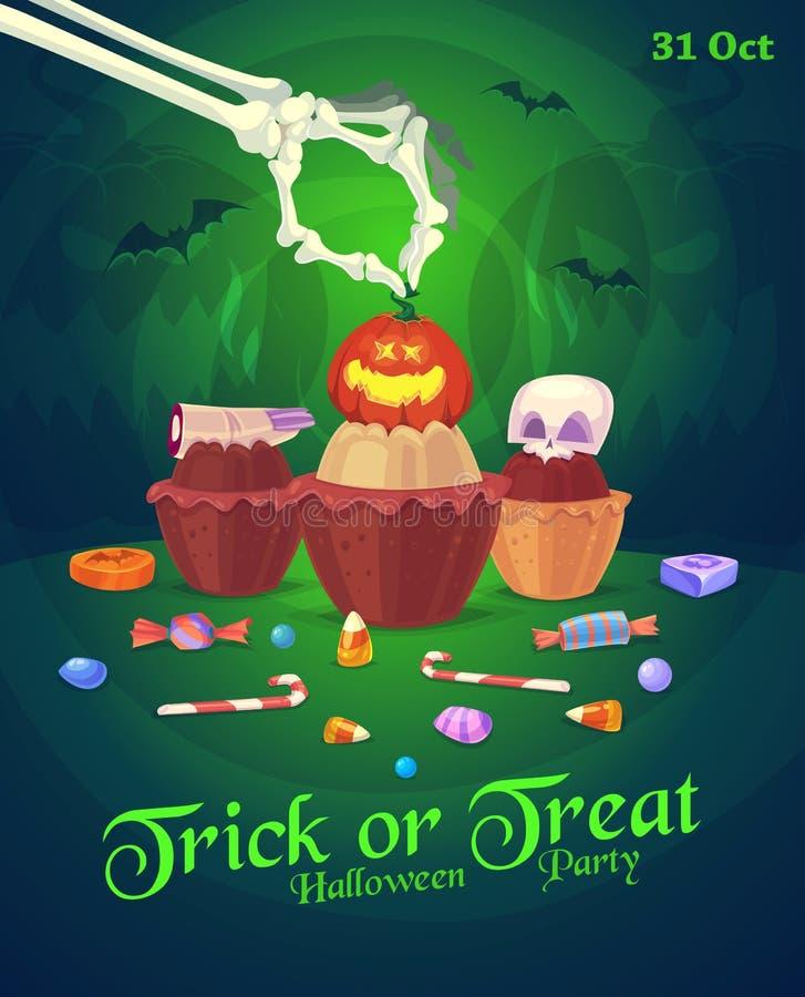 Sistema de iconos coloridos de los dulces y de los caramelos de Halloween libre illustration