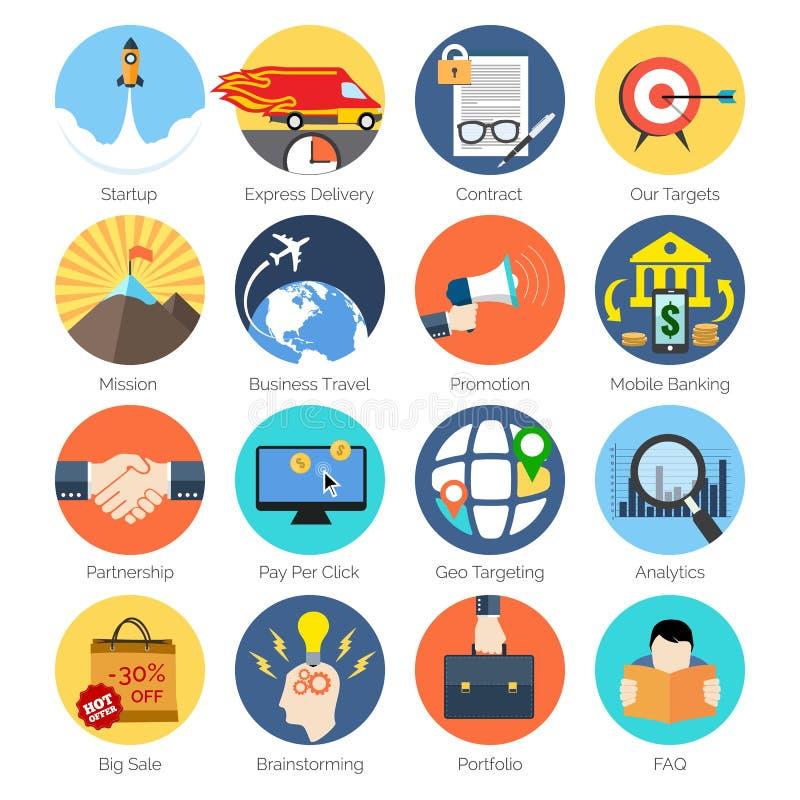 Sistema de iconos coloridos en el diseño plano moderno para el negocio ilustración del vector