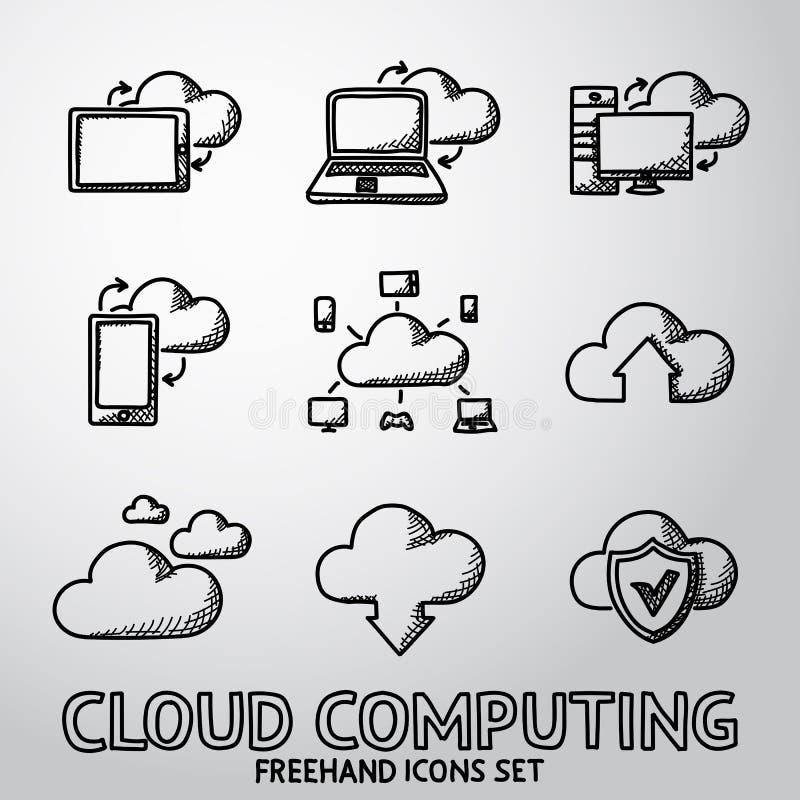Sistema de iconos computacionales de la nube handdrawn Vector stock de ilustración