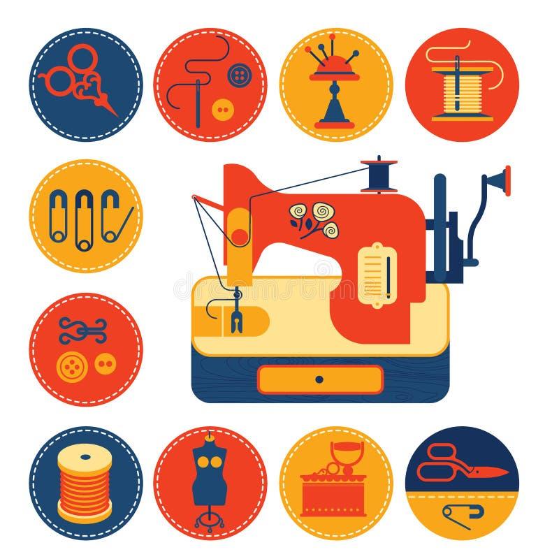 Sistema de iconos con la costura y la adaptación de símbolos ilustración del vector