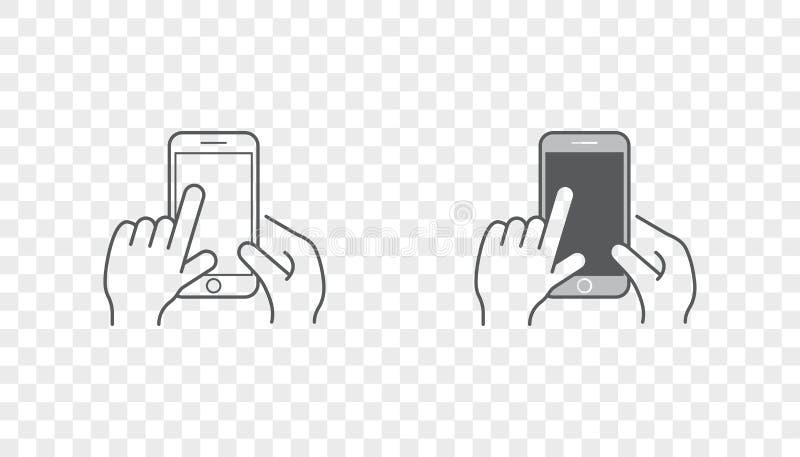 Sistema de iconos con las manos que llevan a cabo el dispositivo elegante con gestos stock de ilustración