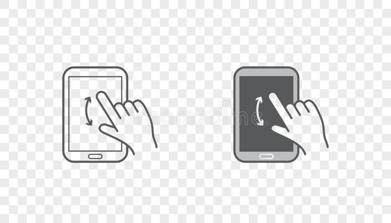 Sistema de iconos con las manos que llevan a cabo el dispositivo elegante con gestos libre illustration