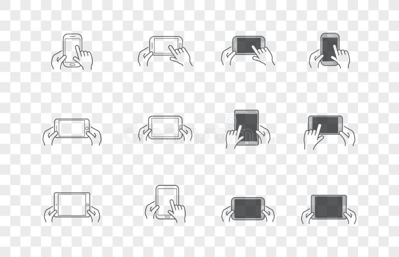 Sistema de iconos con las manos que llevan a cabo el dispositivo elegante con gestos ilustración del vector