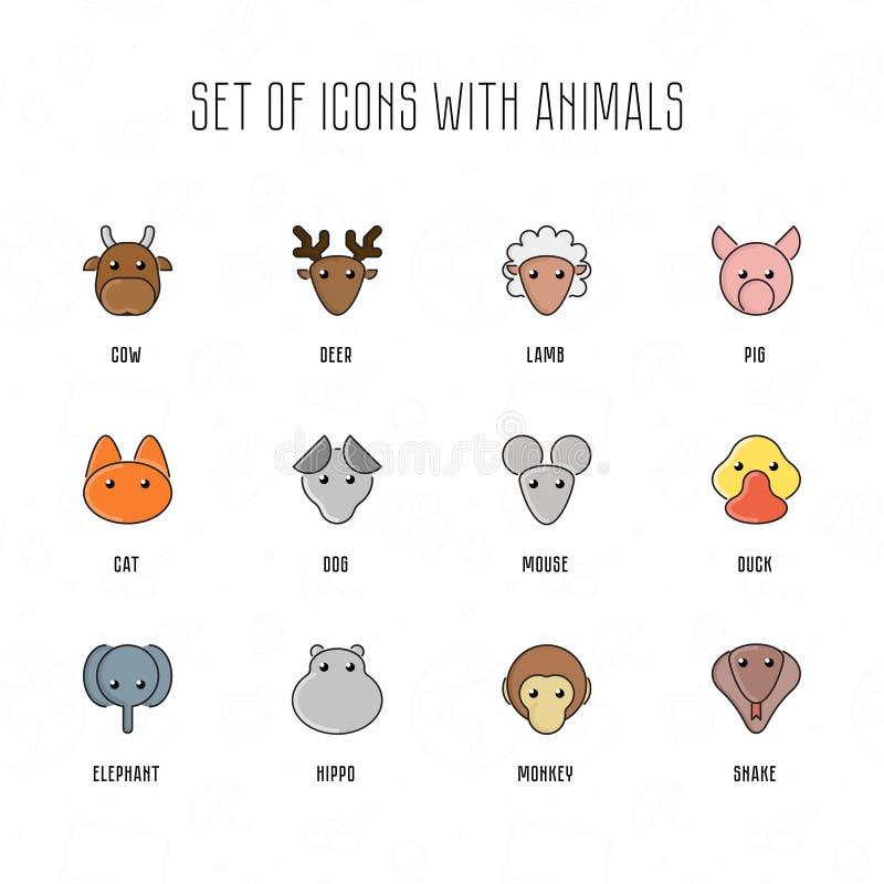 Sistema de iconos con los animales Caras del animal doméstico con estilo plano Colección de la historieta del parque zoológico libre illustration