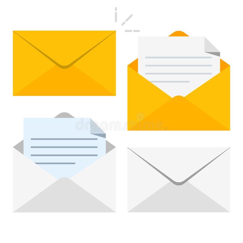 Sistema de iconos con una imagen de una letra cerrada Documento de papel incluido en un sobre Entrega de la correspondencia o ilustración del vector