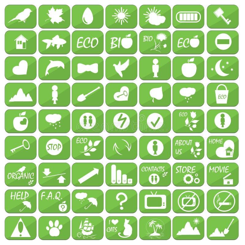Sistema de iconos, de ejemplos y de logotipos en el tema de la ecología stock de ilustración