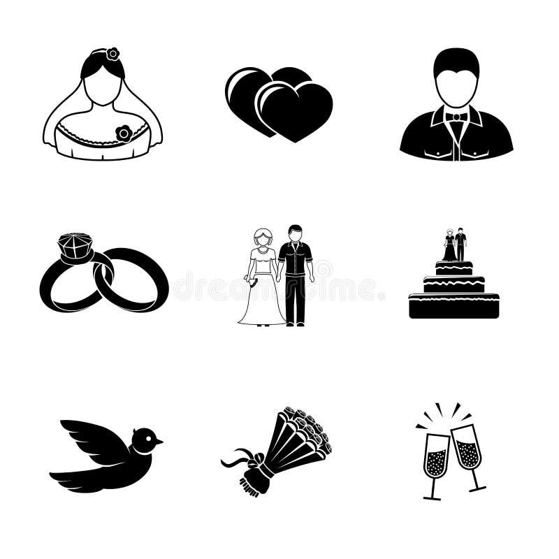 Sistema de iconos de la boda - torta, flores, paloma stock de ilustración
