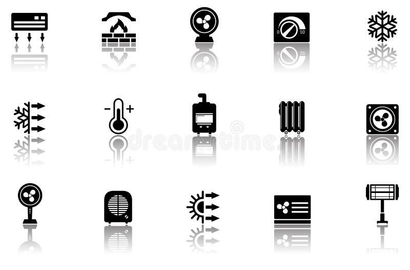 Sistema de iconos de la calefacción con la reflexión libre illustration