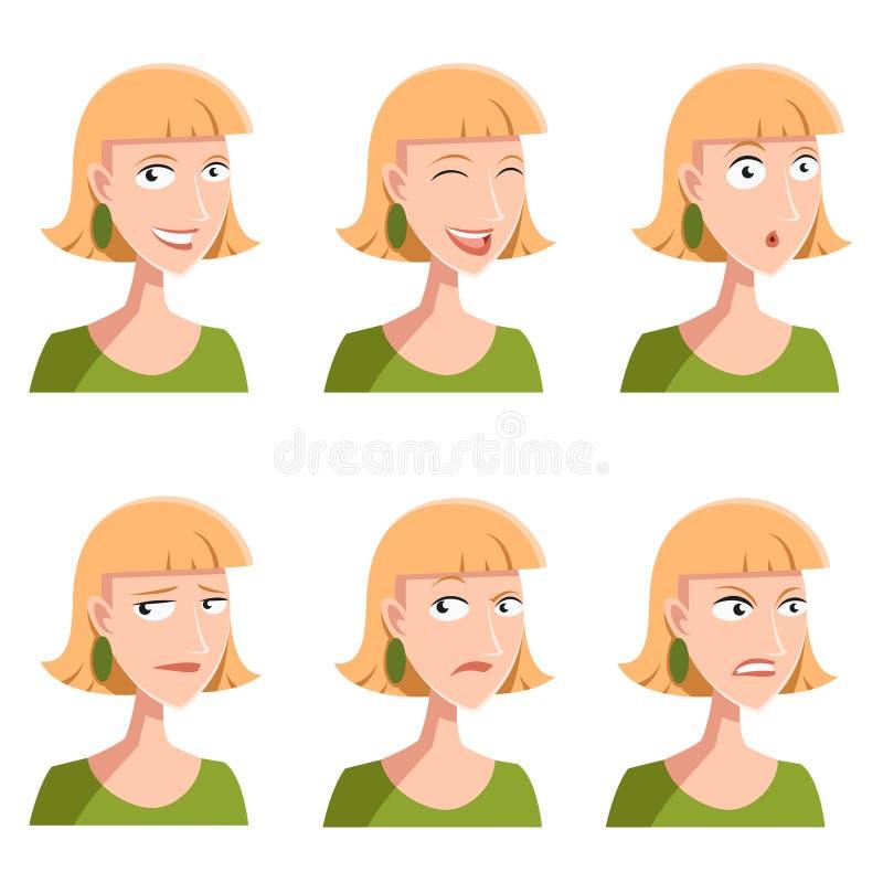 Sistema de iconos de la cara de la mujer stock de ilustración
