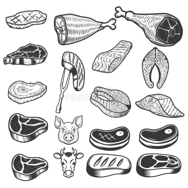 Sistema de iconos de la carne Cabezas del cerdo y de la vaca Elementos del diseño para el logotipo, ilustración del vector
