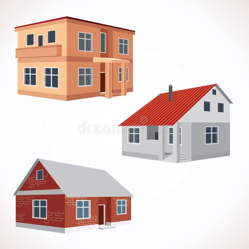 Sistema de iconos de la casa del vector 3D Edificios fijados ilustración del vector