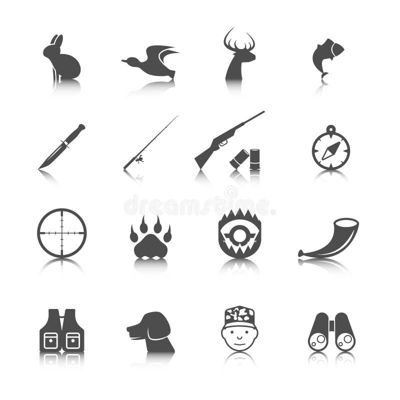 Sistema de iconos de la caza ilustración del vector