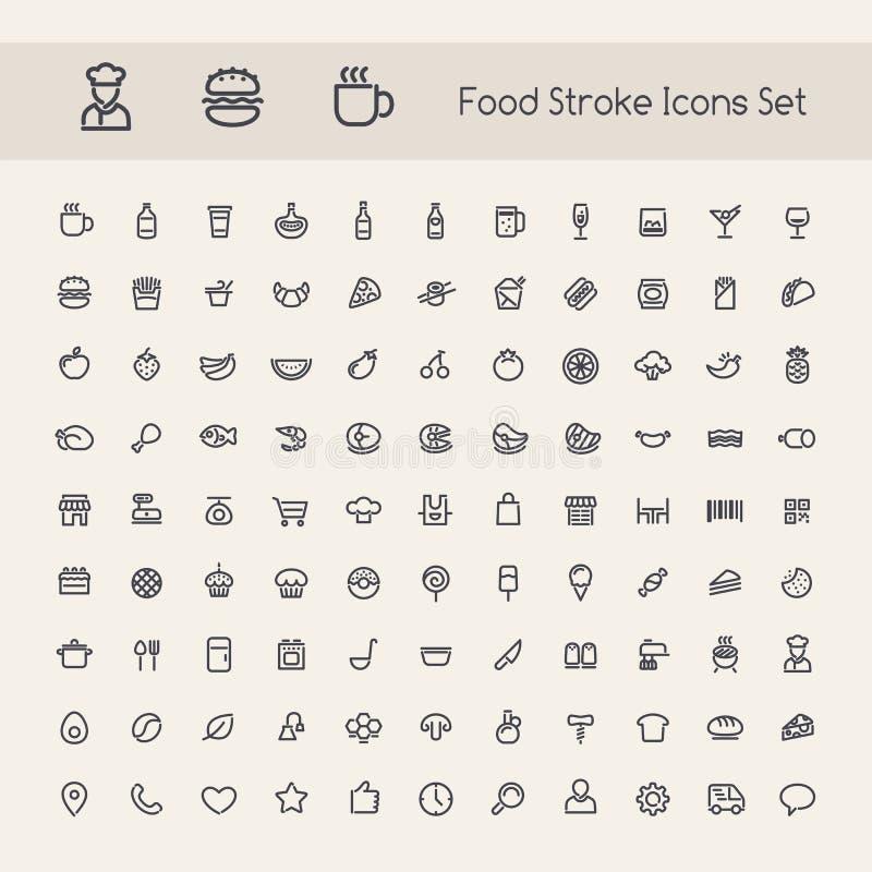 Sistema de iconos de la comida del movimiento ilustración del vector