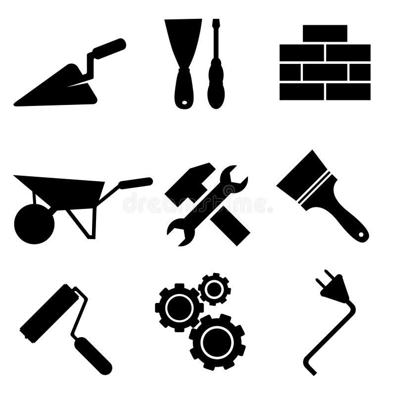 Sistema de iconos de la construcción en el fondo blanco, stock de ilustración