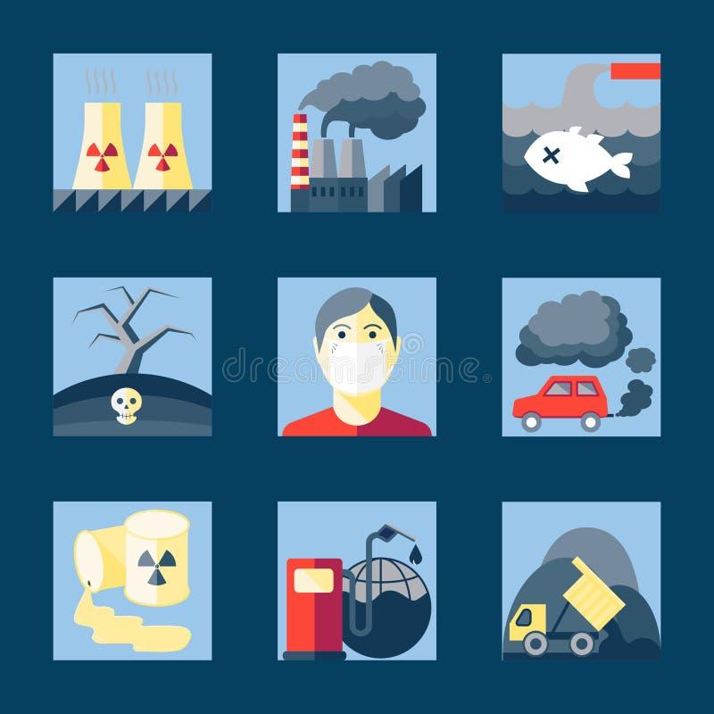 Sistema de iconos de la contaminación libre illustration