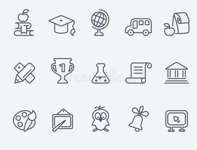 Sistema de 15 iconos de la educación stock de ilustración