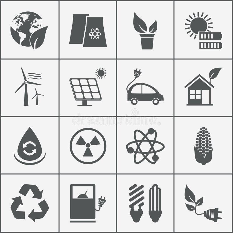 Sistema de iconos de la energía del eco stock de ilustración
