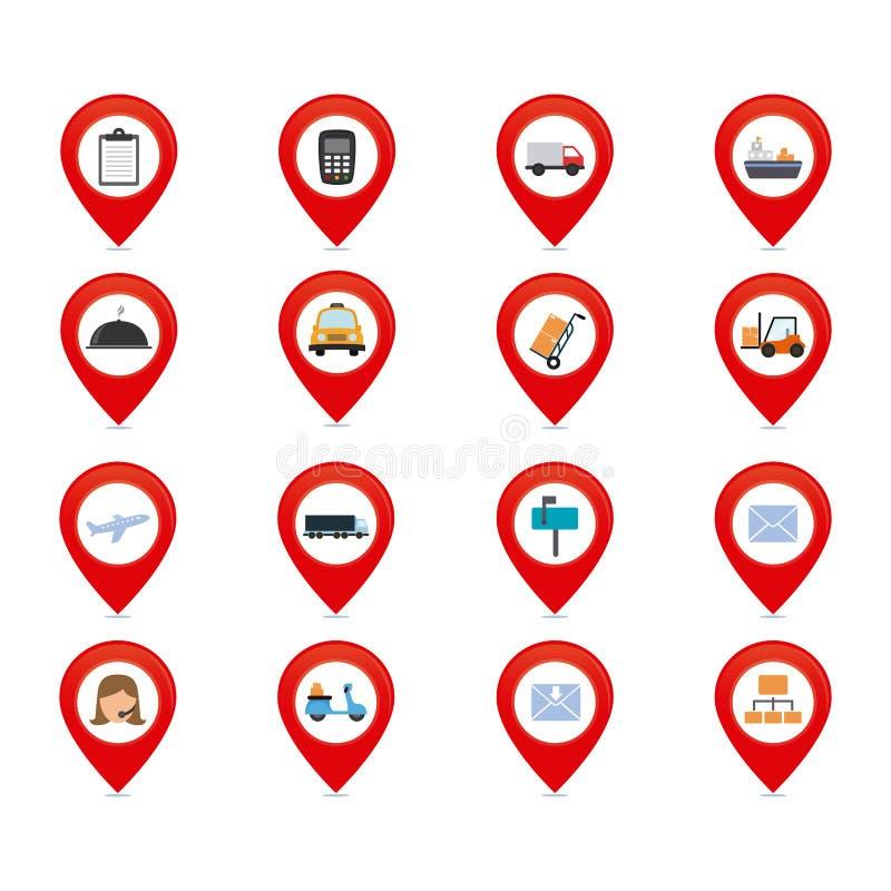Sistema de iconos de la entrega stock de ilustración